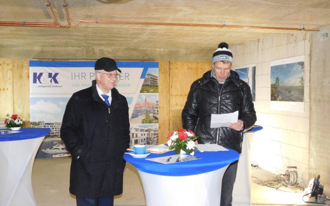 Richtfest 1. Bauabschnitt Wohnpark Gehlsdorfer Nordufer am 25.01.2019
